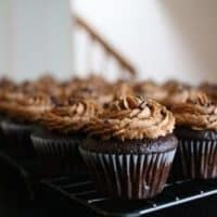 Chocolate cupcakes with chocolate frosting on a metal baking rack