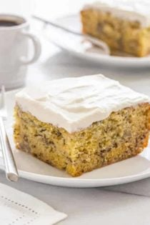 Moist Banana Cake that's good for breakfast or an afternoon pick-me-up. Grab a cup of coffee and dig in!