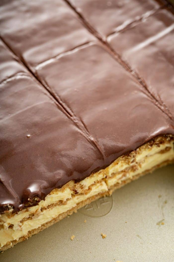 Close up of sliced eclair cake