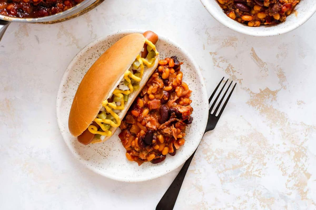 Plate with a hot dog and old fashioned baked beans