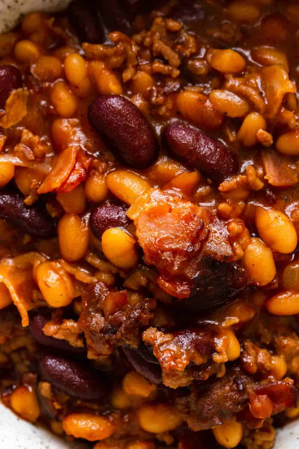 Close-up view of old fashioned baked beans with bacon and ground beef