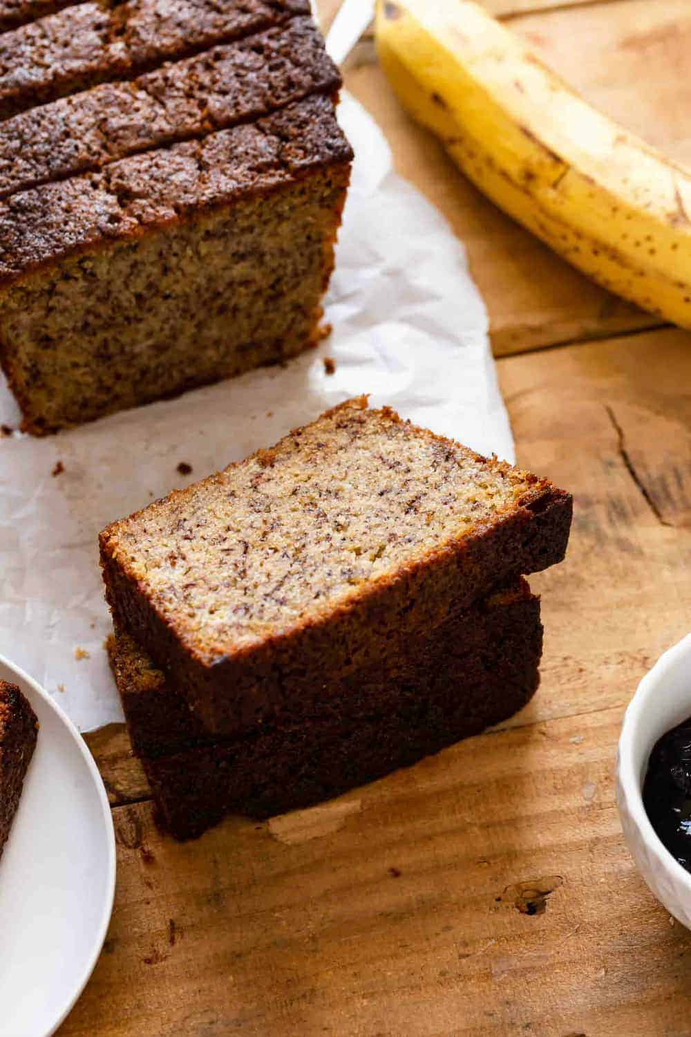 Slices of Dominique Ansel's banana bread