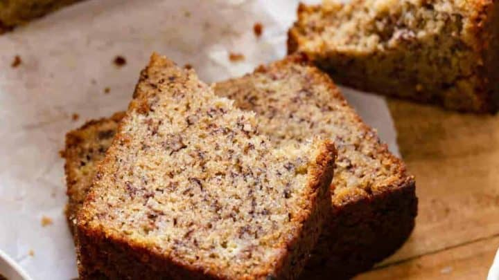 Dominique Ansel's banana bread recipe, sliced and ready to serve