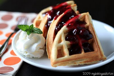 Post image for Vanilla Bean Waffles With Homemade Blueberry Sauce