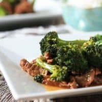 Close up of broccoli beef on a plate