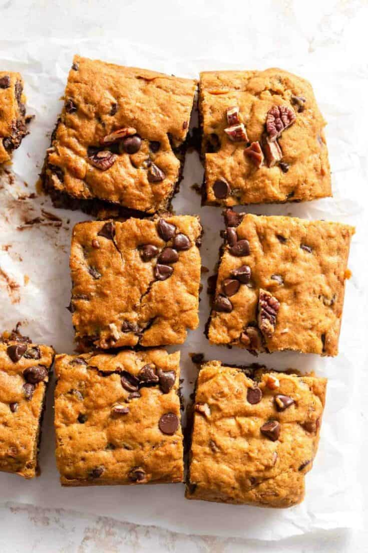 Pumpkin Blondies are the perfect balance of chewy and cakey. Loaded with chocolate chips, these blondie bars are a fun fall treat to make for your family!