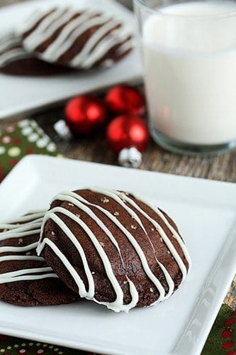 Two chocolate Rolo cookies on a plate