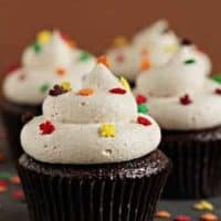 Pumpkin ale cupcakes with multicolored leaf shaped sprinkles