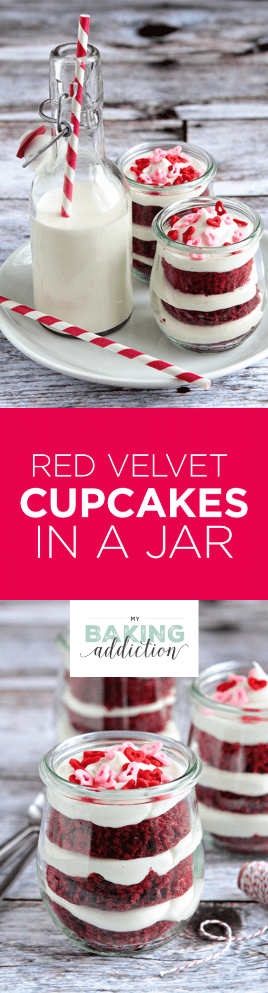 Red Velvet Cupcakes are layered in a jar with sweet cream cheese frosting and festive sprinkles. They're the perfect way to celebrate any occasion!