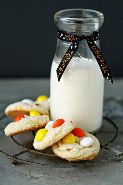 Cake Mix Cookies with Candy Corn M&Ms