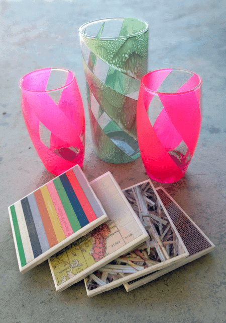 Post image for Homemade Holiday Gifts: Tile Coasters & Opaque Striped Vases