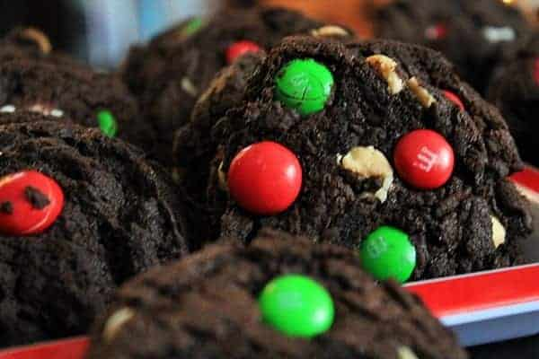 Close up of dark chocolate peppermint and m&m cookies