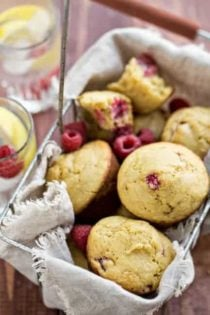 Basket of raspberry cornmeal muffins