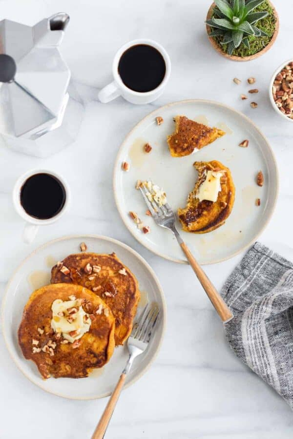Pumpkin Pancakes are loaded with delicious fall flavor. Perfect for breakfast, brunch, or brinner!