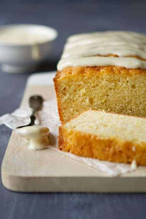 Meyer lemon cake drenched in a sweet cream cheese glaze.