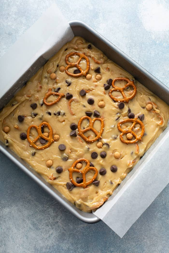 Batter for salted caramel blondies in a baking pan, ready to bake