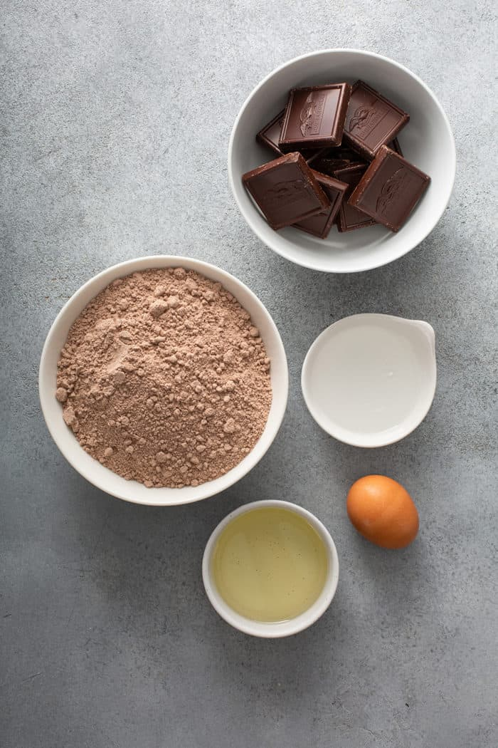 Ingredients for the easiest salted caramel brownies on a gray countertop
