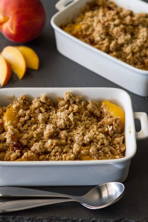 Peach Crisp – Fresh, juicy peaches are topped with oats, brown sugar ...