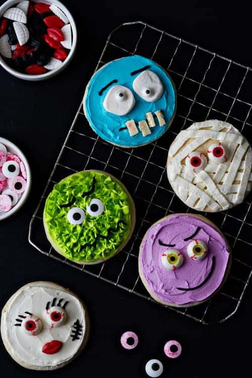 Spooky Halloween Monster Cookies from mybakingaddiction.com