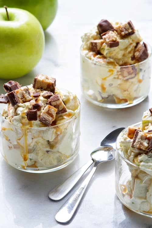 Snickers Caramel Apple Salad Pic from MyBakingAddiction.com
