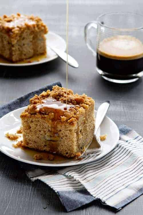 Make-ahead Banana Bread Coffee Cake is the perfect breakfast for Thanksgiving day.