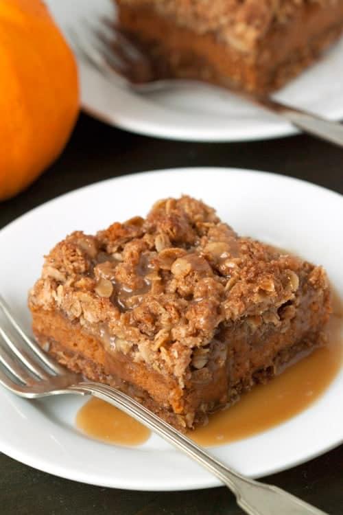 Gluten Free Pumpkin Pie Bars on MyBakingAddiction.com