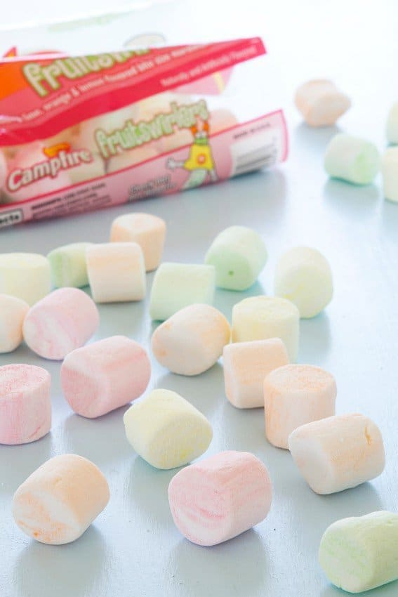 Marshmallow Frosting is made with Campfire Fruit Swirlers. Beautiful spring colors.
