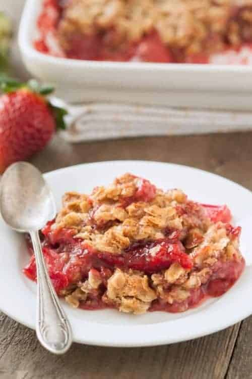 This quick and easy gluten-free strawberry rhubarb crumble is ...