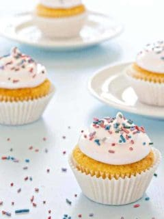 Sweet and fluffy frosting made with real marshmallows is the perfect topping for Spring cupcakes.