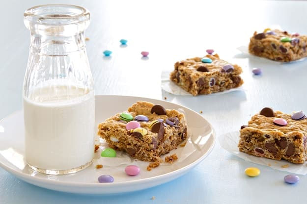 Monster cookie bars are a snap to put together and bake up in 30 minutes. They're so delicious!