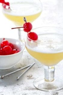 Celebrate summer with this delicious Pineapple Upside Down Cake Cocktail. So delicious!