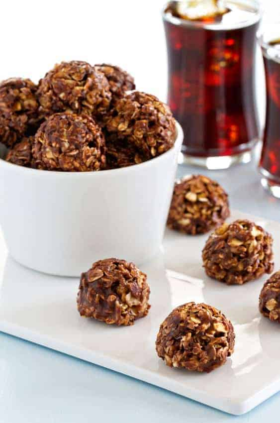 Chocolate Almond Butter Granola Bites are easy to make and the perfect afternoon pick-me-up!