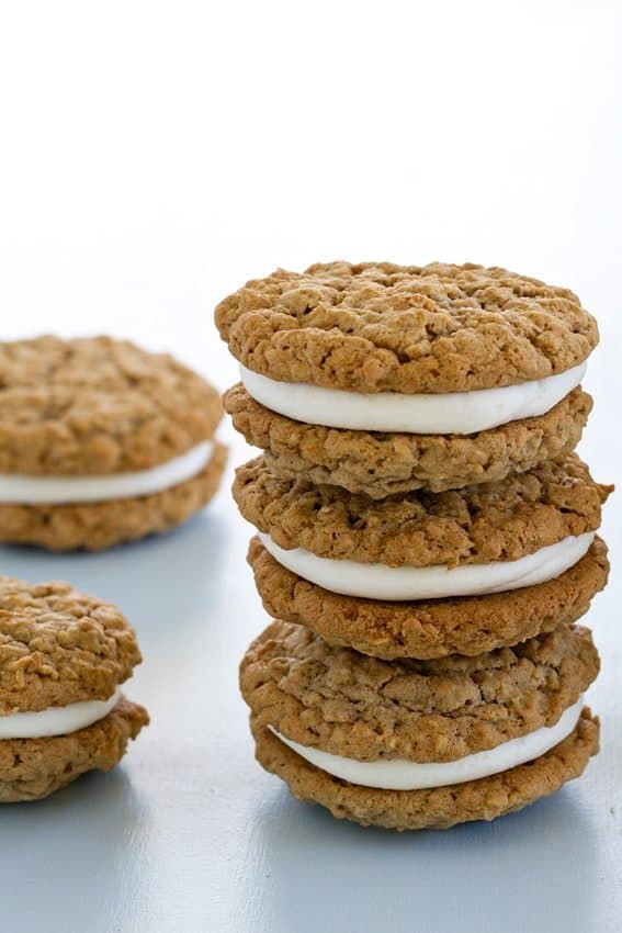 Giant Oatmeal Cream Pies have a creamy vanilla buttercream center ...