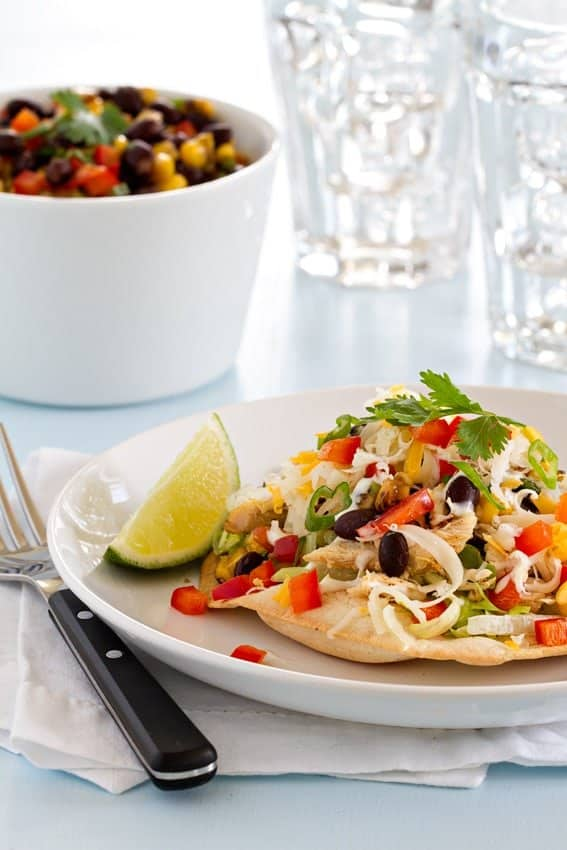 Baked Chicken Tostadas are super easy to make, and full of the good ...