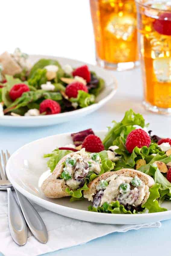 Chicken Salad with grapes, almonds, and tiny pita breads are the perfect pairing to flavorful iced tea. Perk up your afternoon with this delectable tea time treat.