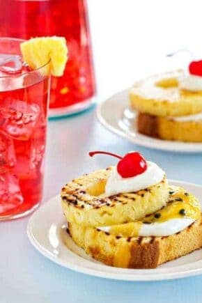 Grilled Pound Cake with Pineapple and Passion Fruit is the perfect dessert for summer!