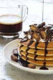 Peanut Butter Cup Pancakes will give you an indulgent treat for your weekend brunch. Or evening dessert!