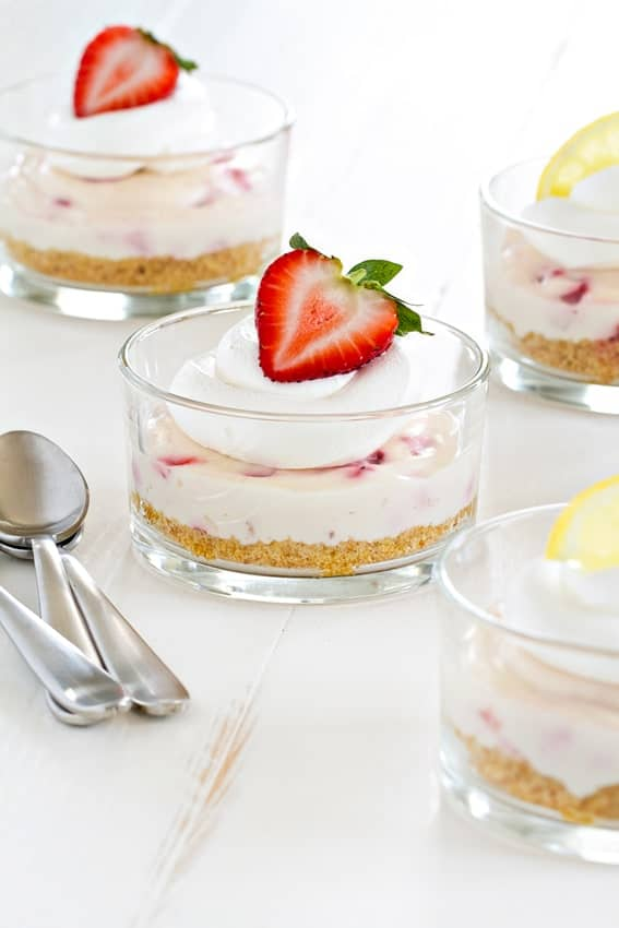 No Bake Strawberry Lemonade Cheesecake uses the gorgeous strawberries of the summer. Simple and beautiful.