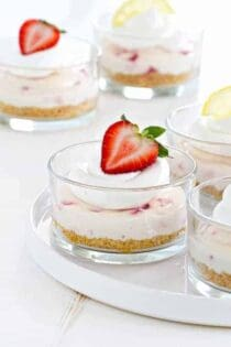 No Bake Strawberry Lemonade Cheesecake would be an amazing dessert for your next barbecue. Your guests will love it!