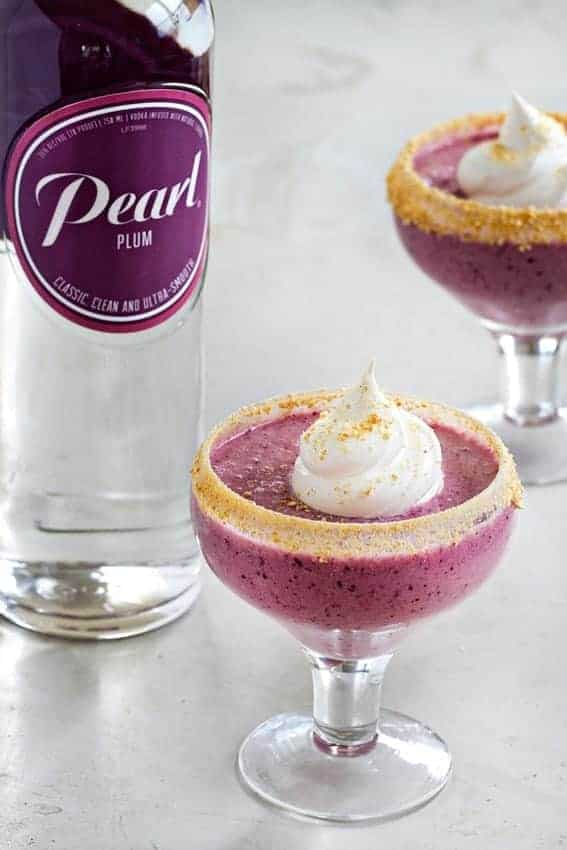 This Plum Pie Daiquiri is dessert in drink form. Sweet and creamy, with just the right amount of boozy goodness from Pearl® Plum Vodka.