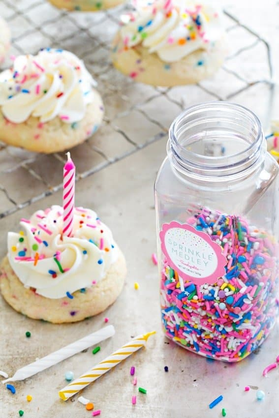 Birthday Cake Cookies have a homemade sugar cookie as the base and loads of sprinkles. Yes, please!