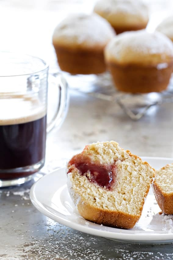 Jelly Donut Muffins will make kids and adult smile. Essential for breakfast this weekend.