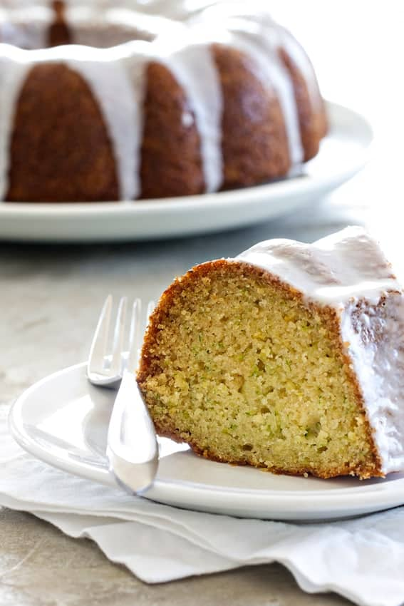 Lemon Zucchini Bundt Cake has a sweet lemon glaze drizzled on top. So delicious.