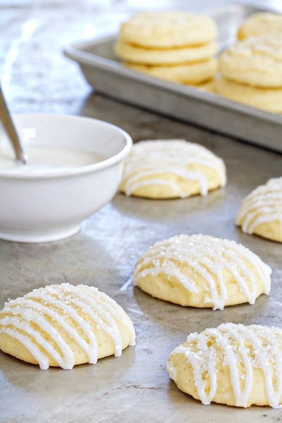 Pound cake cookies make the perfect pairing with a cup of tea. Just look at that glaze!