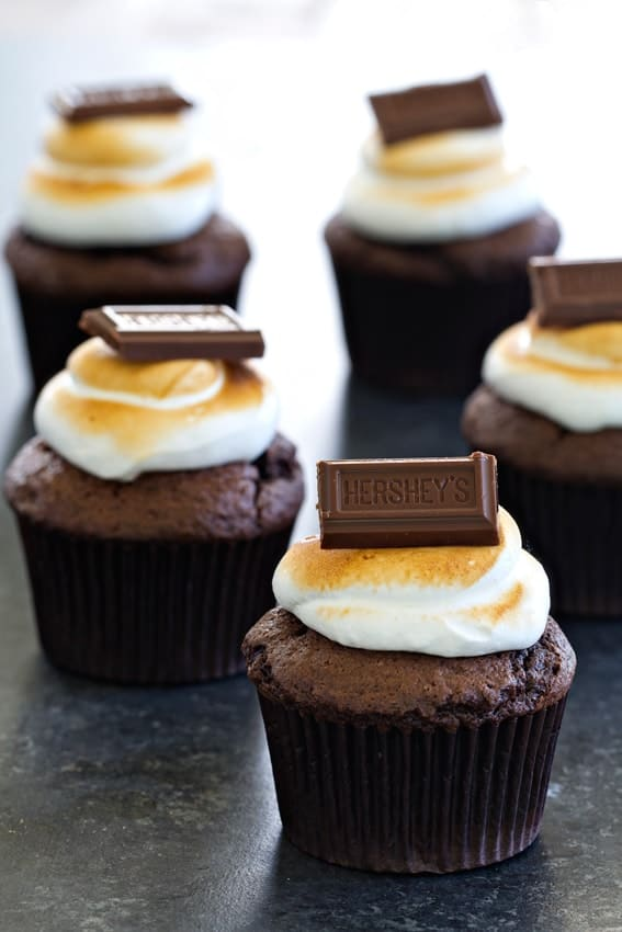 S'mores Cupcakes have all the familiar flavors of traditional s'mores, but in cupcake form! So good.