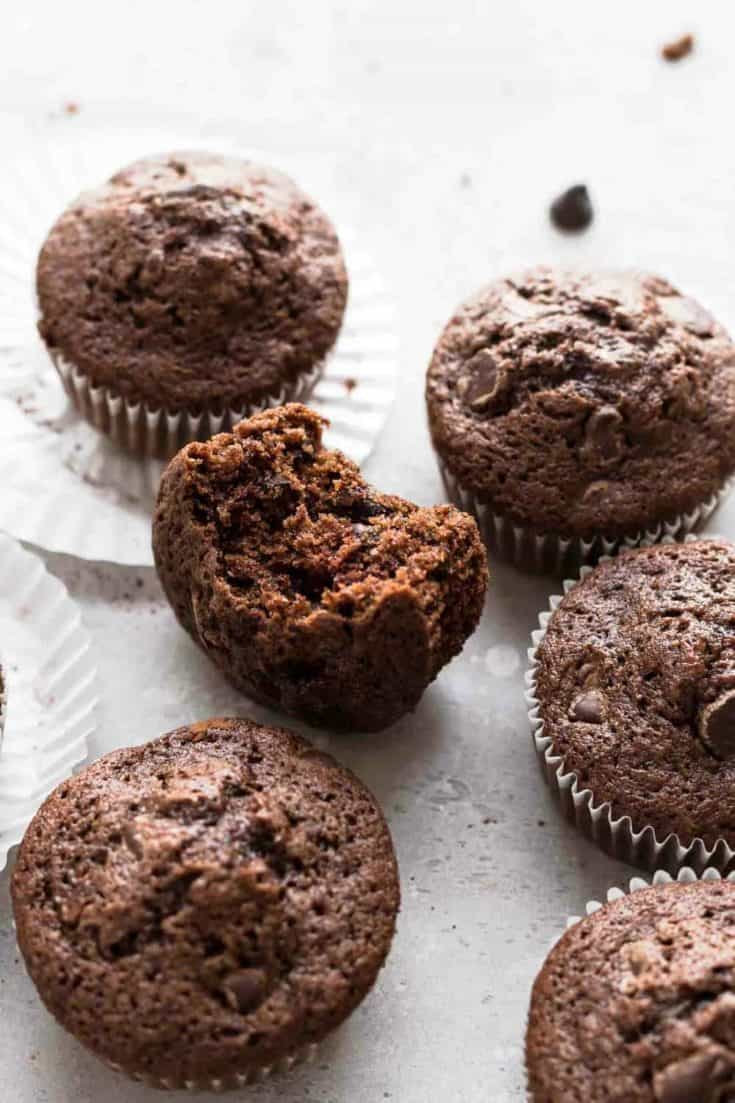 Chocolate Zucchini Muffins are rich, delicious and loaded with flavor. Have 'em for breakfast all week long. Every morning is better with chocolate!