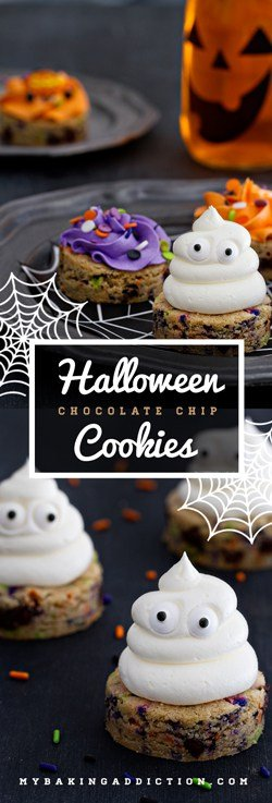 Halloween Chocolate Chip Cookies will bring joy to your Halloween. Sprinkles and buttercream--yes!