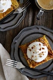 Pumpkin Crunch Cake is a classic fall dessert. Loaded with spices and topped with a dollop if whipped cream, it will quickly become your go-to dessert.