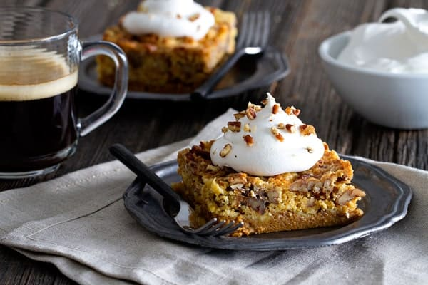 Pumpkin Crunch Cake is brimming with fall flavors. Top each slice with ...