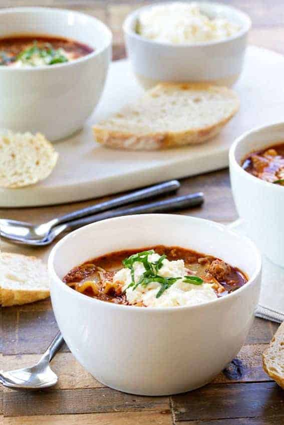 Lasagna soup is loaded with all the familiar flavors of lasagna in ...